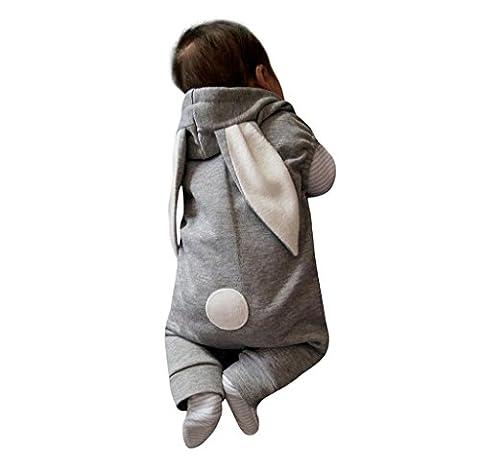 XXYsm Newborn Infant Baby Girls Boys Sleeveless Rabbit Ear Jumpsuit