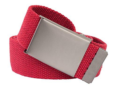 Stoffgürtel viele Farben 4cm breit 160cm XXL Überlänge Gürtel selber kürzen (160cm, Rot starke Schnalle) (Abnehmbare Schnalle Rot)