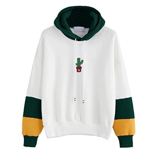 GreatestPAK Langarm Kaktus Print Hoodie Womens Sweatshirt mit Kapuze Pullover Bluse Tops