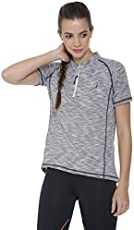 Campus Sutra Striped Women Mandarin Collar Grey Sports Jersey