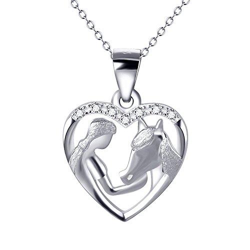 Mädchen und Pferd Ketten Sterling Silber Liebe Herz Halskette Zirkonia Schmuck für Damen, 18