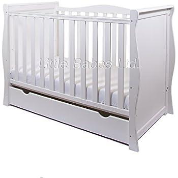 new pinewood white sleigh mini cot bed u0026 drawer british made high density foam safety mattress 4u0027u0027