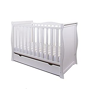 NEW PINEWOOD WHITE SLEIGH MINI COT BED & DRAWER + BRITISH MADE HIGH DENSITY FOAM SAFETY MATTRESS 4'' Changing Table ●Foldable changing table- Easily fold it if you finish all the tasks,With its space saving design, you can store it behind a door, it will make life a little easier for parents. ●Size and Safe and Stable- L78 x W68 x H103cm,Suitable for babies weighing less than 25kg,With seat belt,Changing pad has a restraining strap for added safety and is made of easy to clean, soft ●2-in-1 design- Baby changing table can be used as baby massaging table as well. It is designed at the proper height of parent to prevent mom's back aches and pains from kneeling or bending when changing diapers to babies. 9