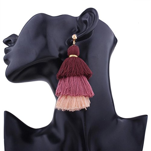 Boho Dangle Ohrringe LCLrute Mode Drei Farbe Quaste Haken Fringe Boho Dangle Ohrringe Frauen Schmuck (F)