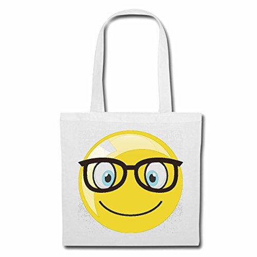 Tasche Umhängetasche Geek Smiley Nerd Smiley MIT GROSSER Brille Smileys Smilies Android iPhone Emoticons IOS GRINSE Gesicht Emoticon APP Einkaufstasche Schulbeutel Turnbeutel in Weiß