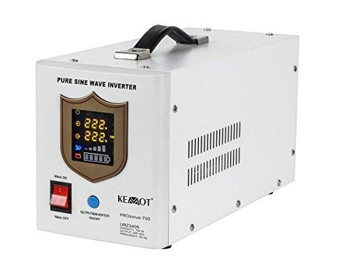 Alimentation électrique de Secours KEMOT prosinus de 700 Onduleur Pur Sinus Fonction de Charge 12 V 230 V 1000 VA/700 W,