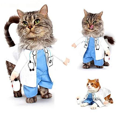 MSSJ Lustige Haustier Kostüme Katze Hund Cosplay Anzug Halloween Weihnachten Krankenschwester Polizist Uniform Kleidung Welpen Hut Anzüge Party Dressing Up XL Stil 4