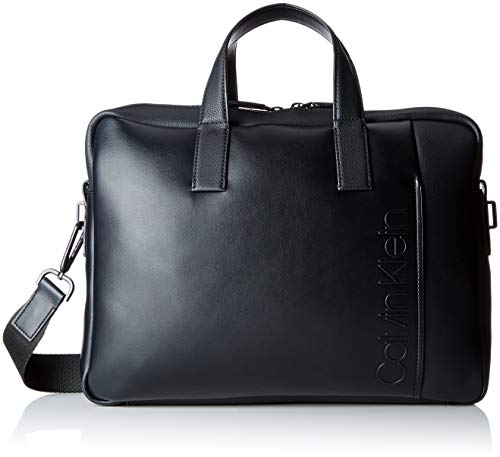 Calvin Klein Jeans Herren Elevated Logo Slim Laptop Bag Tasche, Schwarz (Black), 7x28x38 cm -