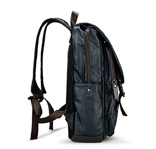 LAIDAYE PU Männer Casual Schulterrucksack Mit Großer Kapazität Schultertasche Rucksack Reisetasche Black
