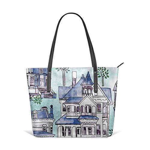 Handtaschen für Frauen, Mint, Grau U0026 Blue Victorian Houses Umhängetasche aus Leder, Umhängetaschen Messenger Bags