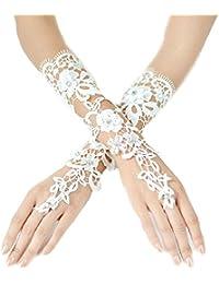 Brauthandschuhe fingerlos Braut Weiß Ivory Handschuhe Perlen Pailletten Hochzeit