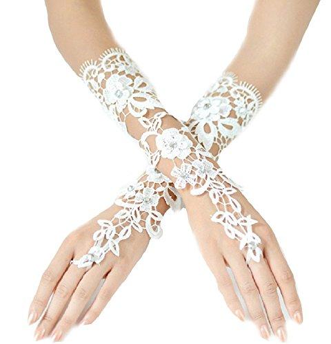 Brauthandschuhe fingerlos Braut Handschuhe Perlen Pailletten Hochzeit Weiß Ivory (Ivory) (Ivory)