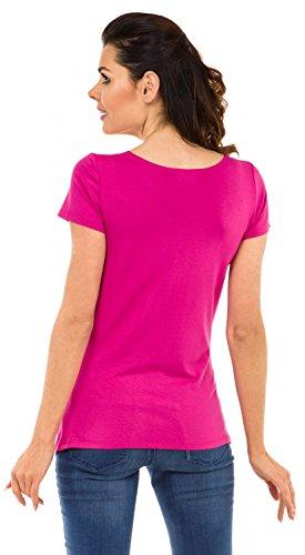 Zeta Ville - Damen Umstands Shirt Oberteil Top Witzige Spähen Baby Motiv - 501c Fuchsie