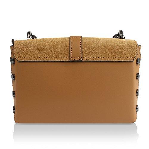 Gloop Damen Clutch echt Leder Tasche Abendtasche mit Kette Handtasche Umhängetasche Made in Italy 1.013.7 Kamelle