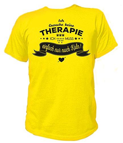 Artdiktat Herren T-Shirt Ich brauche keine Therapie - Ich muss einfach nur nach Köln Gelb