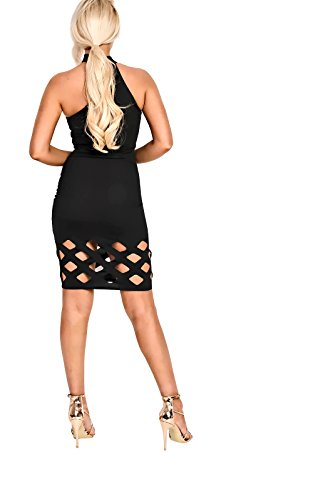 Women's Ladies igh Neck Cut Out Bodycon Dress Black