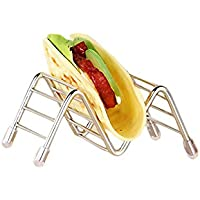 Aolvo Tacos de Acero Inoxidable con Salsa, Taco Stands Rack Shells para Sostener Tacos, Sándwiches, Pan, Hot Dogs Pancakes