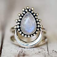 It is a perfect choice for you 925 Silver Women Vintage Diamond Punk Moonstone Ring, Ring Size:7.Perfect for a