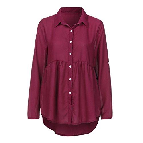 SEWORLD Damen Übergröße Solide Lange Ärmel Lässige Chiffon OL Arbeit Tops T-Shirt Blusen(Weinrot,L3)