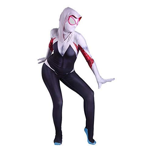 YXIAOL Super Spider-Man Kostüm, Gwen Spider-Man, Helden Kostüm, Film Cosplay Kostüm, Halloween Karneval Party Kostüm, Erwachsener/Kind,Adult-XL (Super Helden Kostüm Für Hunde)