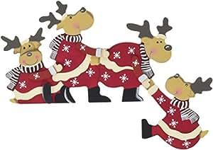 Khevga decorazione natalizia arco di renne cornice in legno per porta casa e cucina - Decorazione natalizia per porta ...