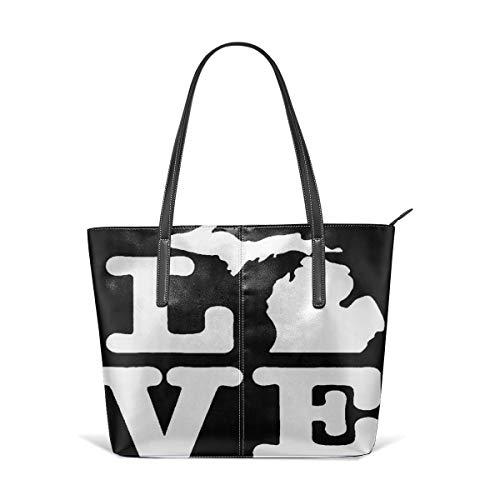 PecoStar Damen Umhängetasche Love Michigan Stilvolle Reisetasche Messenger Bag Damen Einkaufstasche Falttasche -