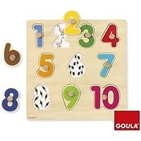Goula - Puzzle números, piezas de madera (Diset 53074)