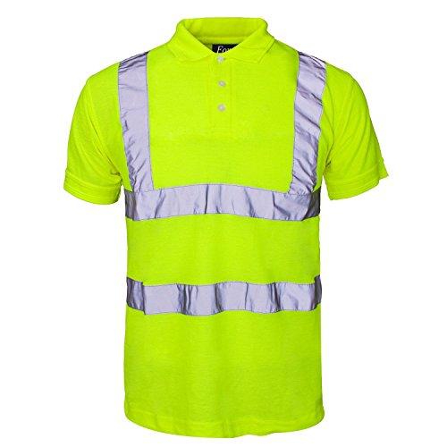 Fast Fashion Hi Viz Arbeit Tragen Graue Kragen Sicherheits Visability Polo-T-Shirt (Sicherheit Gelb T-shirt)