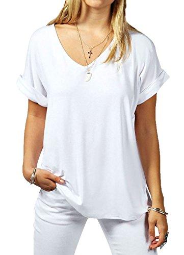 MMT Women Baggy Fit V Neck Turn Up Sleeves Oversized Top Size UK 8 - 26 (SM (UK 8/10), White)