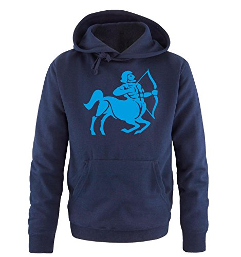 Comedy Shirts - zodiac sign - Sagittarius - Uomo Hoodie cappuccio sweater - taglia S-XXL vari colori Navy / Blau