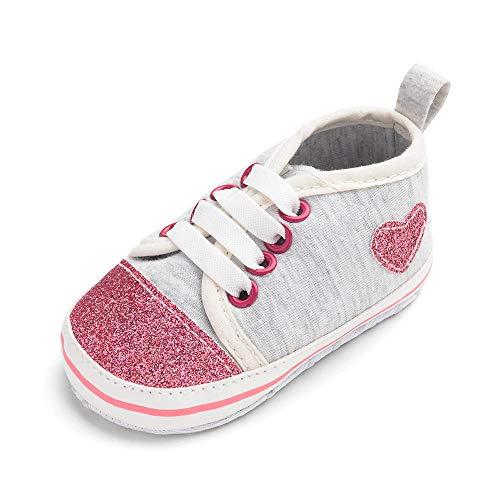 (Quaan (11-13 Neugeborenes Säugling Mädchen Solide Bogen Herz Drucken Prinzessin Weich Anti-Rutsch Zuerst Gehhilfe Schuhe Boot Beiläufig Warm elastisch atmungsaktiv Weihnachten Holloween Turnschuhe)