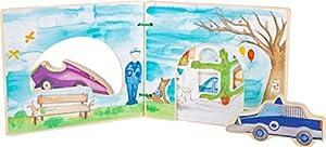 Small Foot 12041 - Libro de Fotos Interactivo de Madera con Certificado FSC 100%, Libro de bebé con Coches de policía, REGT la fantasía de Juguetes