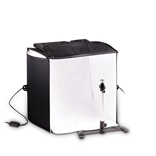 Mobiles HAUSER & PICARD 200 Watt 40cm Foto-Studio Licht-Würfel mit Tasche und Kamera-Stativ | Foto-Beleuchtung/Licht-Zelt/Licht-Würfel