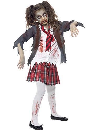 Halloweenia - Mädchen Kinder Kostüm Horror Geister Schulmädchen Schülerin mit Rock Jacke Oberteil und Krawatte, Bloody Zombie Schoolgirl, perfekt für Halloween Karneval und Fasching, 152-164, Grau