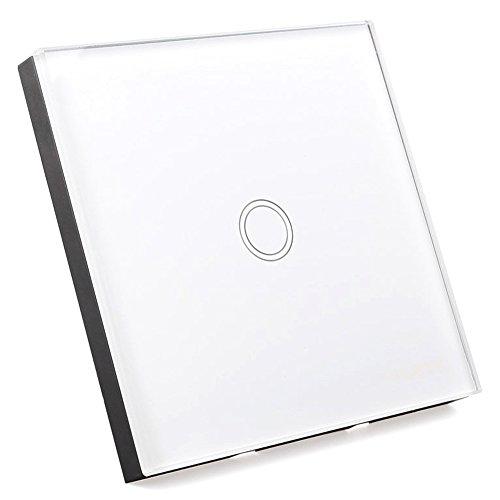 Interruptor de pantalla tactil - SODIAL(R) Interruptor de luz con Interruptor de pared de pantalla tactil de vidrio de control remoto 1 via blanco interruptor