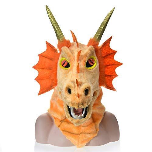 BEIXI Tierische Kopfbedeckungen pelzigen handgefertigten maßgeschneiderte gehörnten Dinosaurier Kopf Halloween bewegen Mundmaske Orange Dragon Simulation Tiermaske Orange (Gehörnte Brille Kostüm)