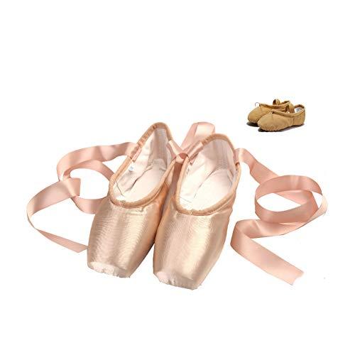 LFEWOX - Zapatillas de ballet con suela de piel satinada, color rosa, bailarinas con cinta, zapatillas...