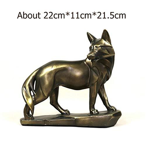 LIANGRAN Escultura Decoraci Artesan Estatua Lobo Vigilante
