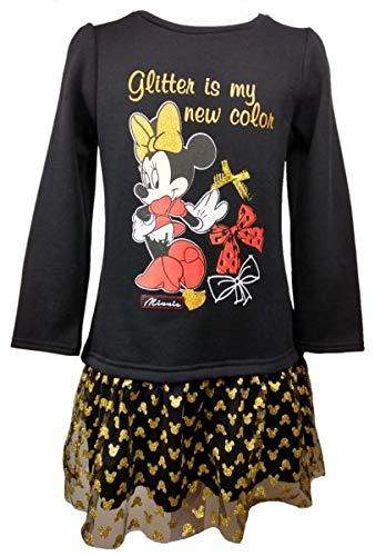 (Disney Minnie Mouse Mädchen Langarm Kleid ~ Rüschenkleid ~ Gr. 98,104,110/116,122/128 Größe 110/116)