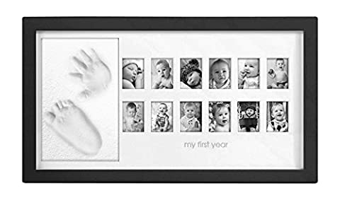 'My First Year!' - Adorable Baby Hand & Foot Print Frame Kit, includes free rolling pin - Soft, Safe imprint Clay for moulding, Premium Wood frame and High Quality Acrylic Glass Cover (ultimate newborn baby gift - Black frame)