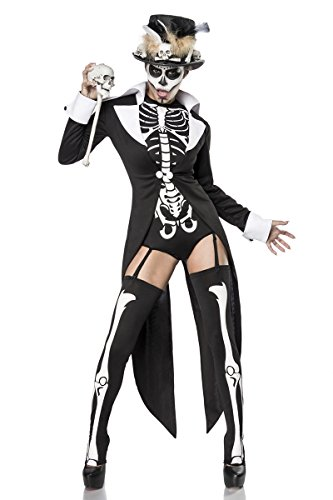 Sexy 7-teiliges Voodookostüm Kostüm Vodoo Damen Damenkostüm Halloween Skelett Skelettkostüm Set (Halloween Kostüm Frack)