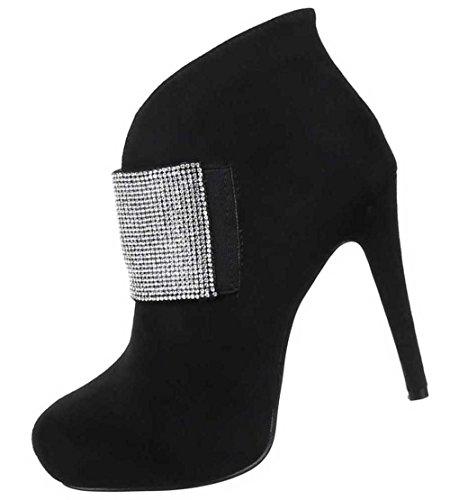 Damen Stiefeletten Schuhe Strass Besetzte Boots Schwarz Schwarz