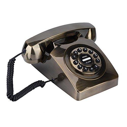 Eboxer Western Style Vintage Antique Telefonnummern Speicher Wählscheibe Retro Telefon anrufbeantworter für Wohnung(Bronze)
