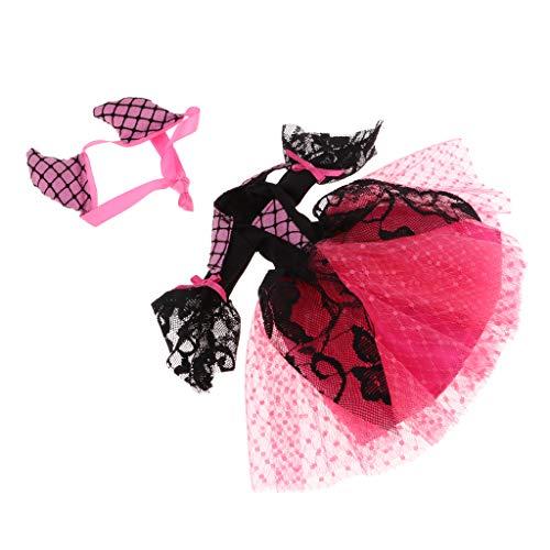 SM SunniMix Robe De Soirée Cool Halloween W / Petit Bandeau De Diable Rose pour Poupée 1/6 Blythe