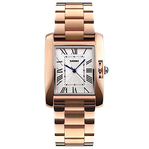 GOHUOS Frauen Armbanduhr, Quarz Analog Rechteck Square Dial Silber Uhr Wasserdicht Luxus Casual Dress Edelstahl Uhren für Damen Frauen Mädchen(Rosegold)