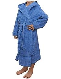 Albornoz Infantil, Rizo, 100% algodón, azulón.