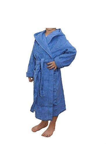 Albornoz Infantil, Rizo, 100% algodón, azulón. 10