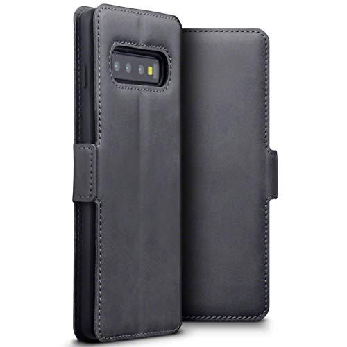 TERRAPIN, Kompatibel mit Samsung Galaxy S10 Hülle, Premium ECHT Spaltleder Flip Handyhülle Samsung Galaxy S10 Tasche Schutzhülle - Grau