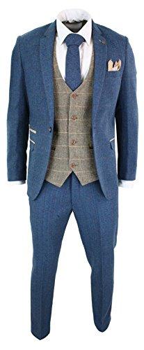 Marc Darcy Costume Homme 3 pièces Bleu Marron Clair Tweed Chevrons Carreaux  Vintage Coupe ajustée 4de542fcc11