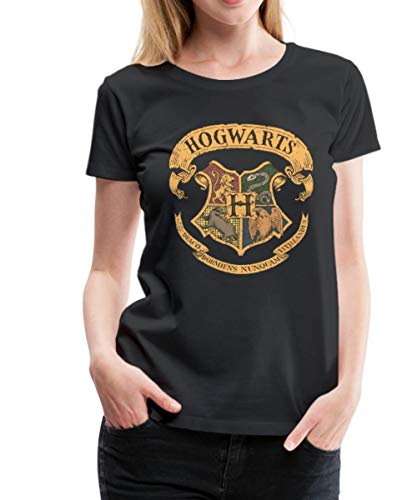 Spreadshirt Harry Potter Hogwarts Wappen Frauen Premium T-Shirt, S (36), Schwarz